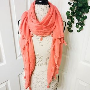 Accessories - Coral Tassel Scarf